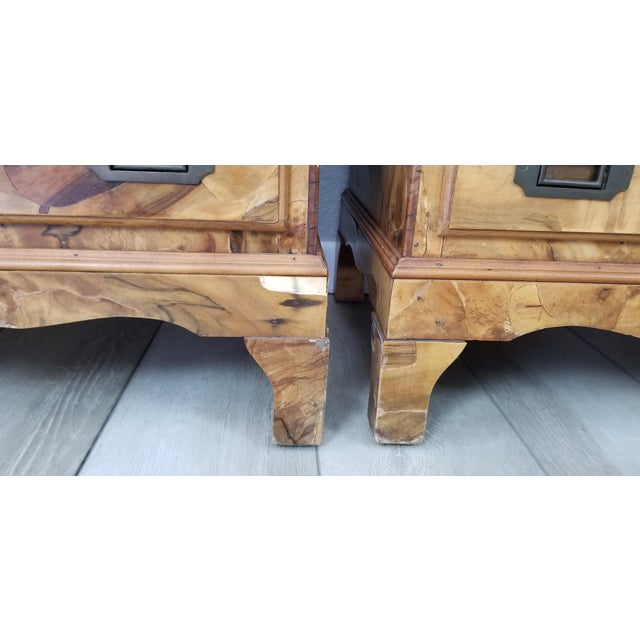 Brown Italian Campaign Style Burlwood Patch Chest / Nightstands - a Pair For Sale - Image 8 of 13