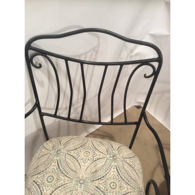 Pair of Black Wrought Iron Garden Chairs For Sale - Image 4 of 5