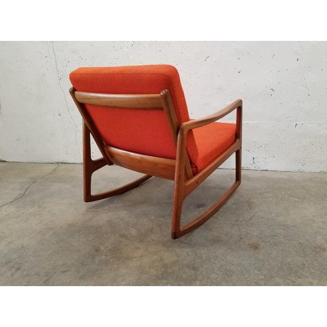 France & Son 1960s Danish Modern Sculpted Teak Rocking Chair For Sale - Image 4 of 10