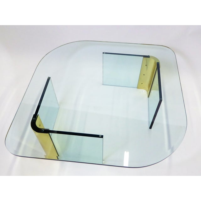 Pace Collection Modern Large 1970s Thick Glass & Brass Coffee Table For Sale - Image 4 of 13