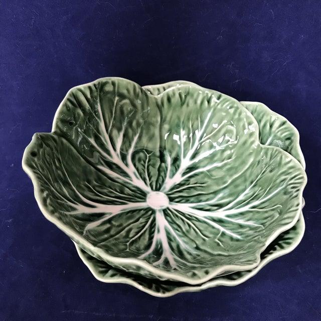 Majolica Bordallo Pinheiro Green Cabbage Bowls - A Pair For Sale - Image 4 of 7