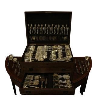 "Antique Gorham ""Virginiana"" Cased Set of Sterling Flatware - 131 Pieces For Sale"