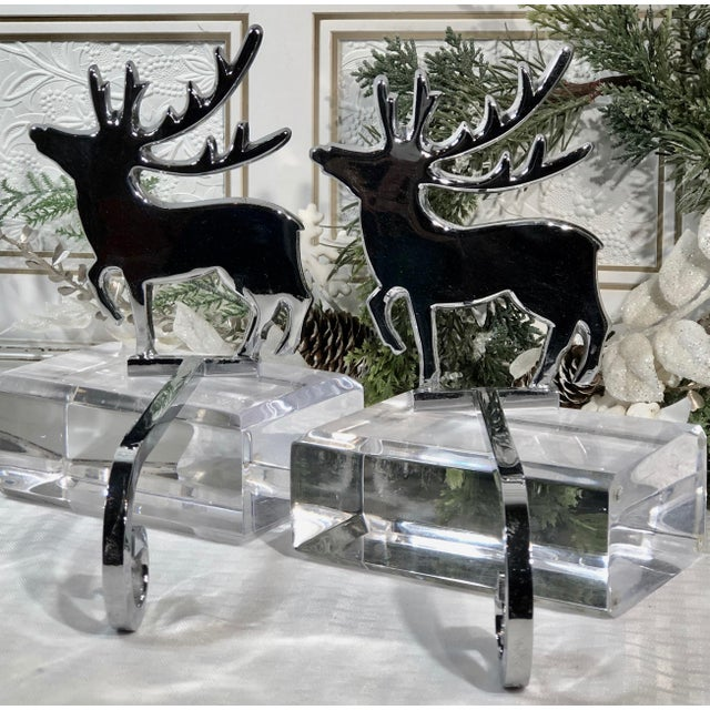 Silver Vintage Reindeer Silver Plated Stocking Hangers - Set of 2 For Sale - Image 8 of 9