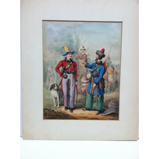 """This is a matted original hand-colored print that is titled """"2 Soldiers Meet"""". The artist is unknown. The print is from..."""