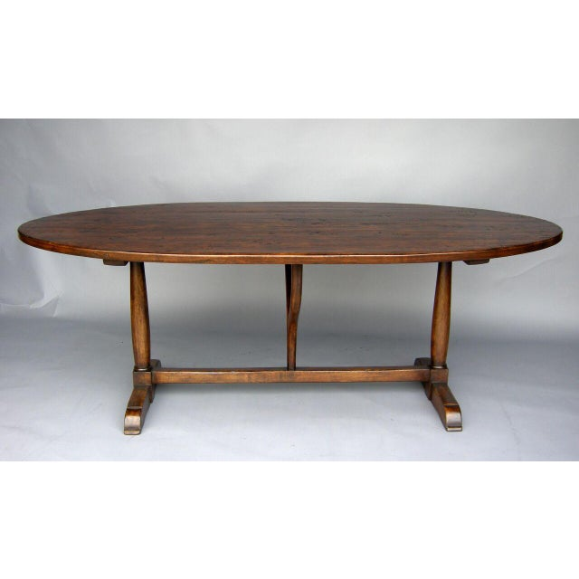 French Provincial Custom Walnut Wood Oval Table With Wishbone Stretcher For Sale - Image 3 of 6