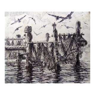 Drying Nets Pen & Ink by Simon Michael For Sale