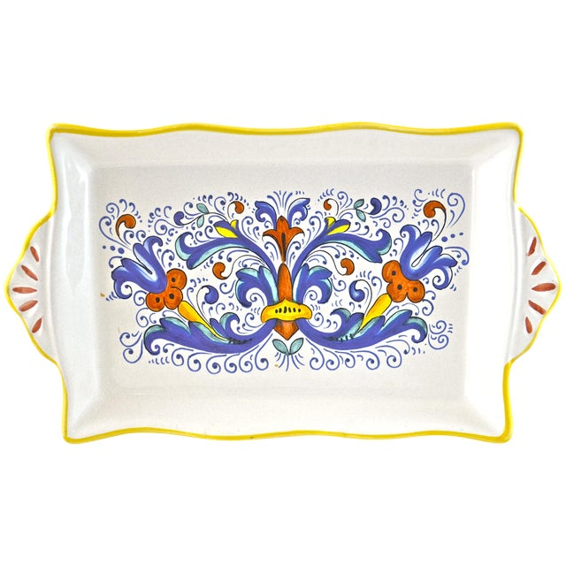Hand Painted Blue Deruta Italian Tray - Image 1 of 4