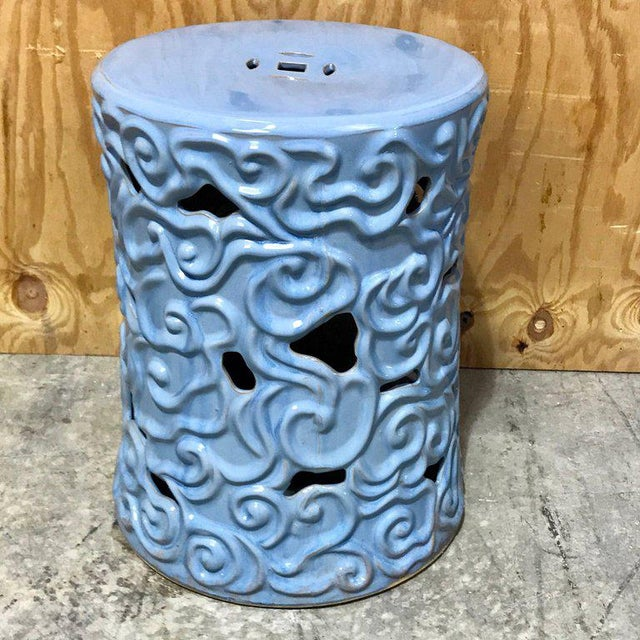Asian Gumps Chinese Export Steel Gray Turquoise Garden Seat - A Pair For Sale - Image 3 of 9