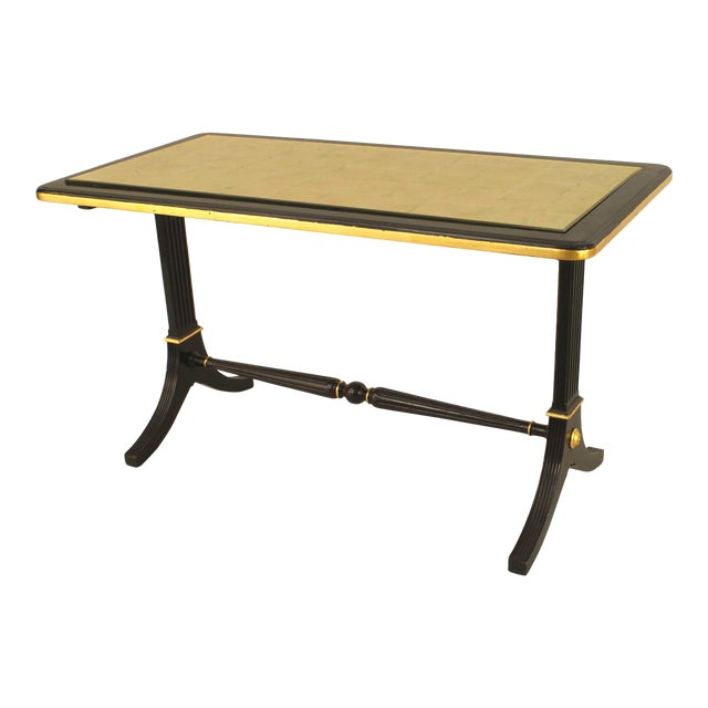 1940s French Gilt Glass and Ebonized Wood Coffee Table, by Jansen For Sale