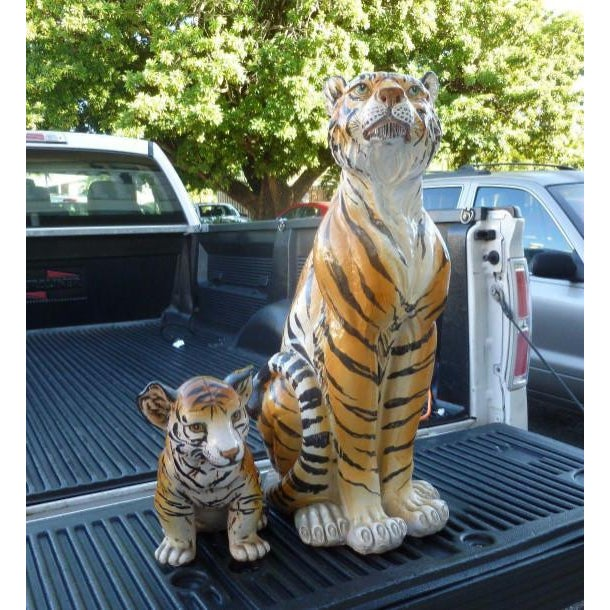Pair of large Mid-Century Italian glazed terracotta tigers, mother and her cub sold as found with no cracks or repairs....