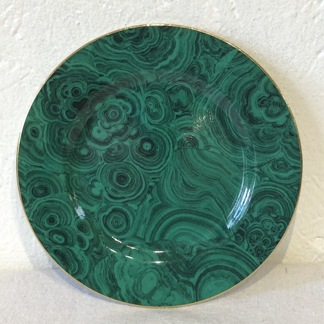 Mid 20th Century Green Faux Malachite Small Plates - Set of 6 For Sale - Image 5 of 8