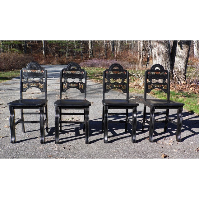 Vintage Set of 4 Art Deco Black Painted Amish Folk Art Style Dining Chairs For Sale - Image 12 of 12