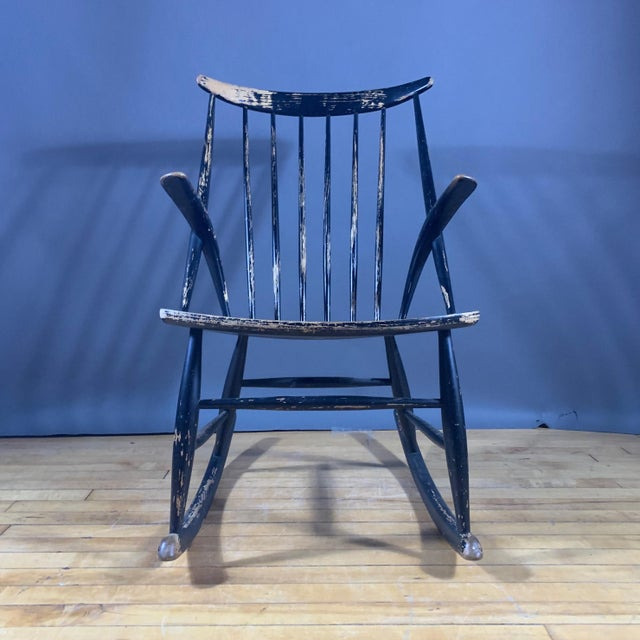 Wood Illum Wikkelsø Ebonized Rocking Chair, 1958 Denmark For Sale - Image 7 of 8