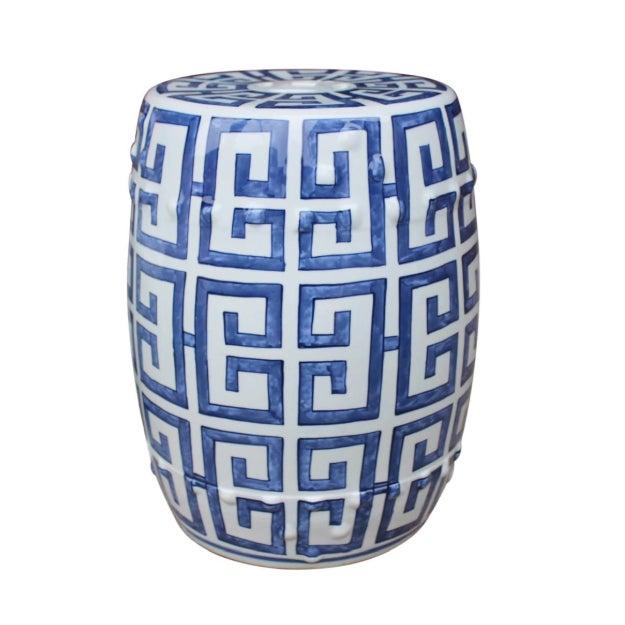 Asian Blue & White Greek Key Porcelain Garden Stool For Sale - Image 3 of 3