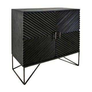 Black Geometric Wood Two Door Cabinet For Sale