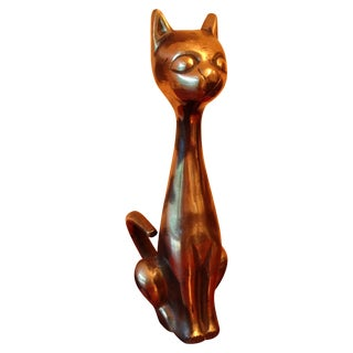 Vintage MCM Brass Cat For Sale