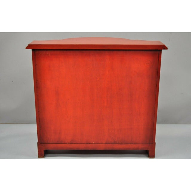 Red Lacquer Medallion Ltd Demilune Chinoiserie Georgian Credenza For Sale - Image 11 of 13