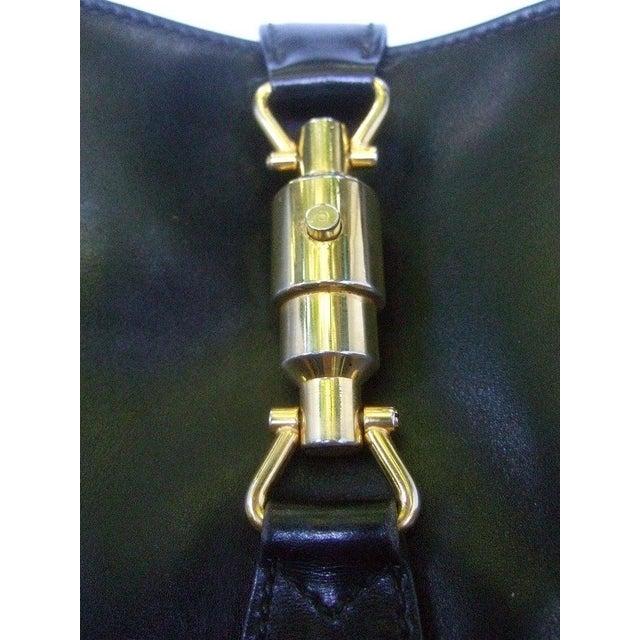 "1970s Gucci Iconic Ebony Leather Jackie ""O"" Versatile Handbag / Shoulder Bag C 1970s For Sale - Image 5 of 11"