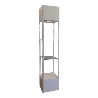 65 Square White Tower Display Unit W/Light 80s For Sale