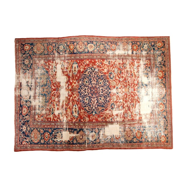 "Antique Distressed Ziegler Sultanabad Carpet - 9'9"" X 13'3"" For Sale"