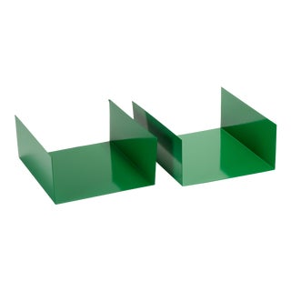 1960s Aluminum Paper Trays or Bookends Refinished in Winter Green - a Pair For Sale