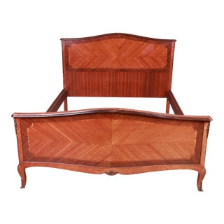 French Louis XV Inlaid Mahogany Queen Size Bed For Sale