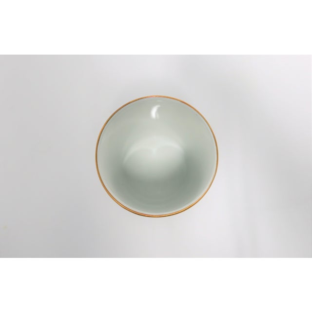Metal Italian White and Gold Porcelain Vanity Cup by Designer Richard Ginori For Sale - Image 7 of 11