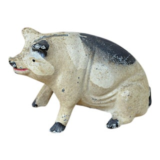 Vintage Painted Cast Iron Seated Pig Bank For Sale