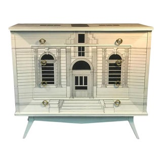 Magnificent Italian Building Design Dresser in the Manner of Piero Fornasetti For Sale