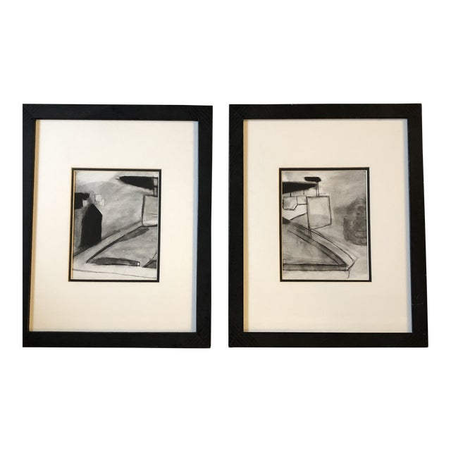 Vintage Original Abstract Landscape Pastel Drawings a Pair For Sale