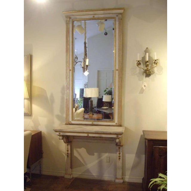 Italian 19th C. Italian Neoclassical Style Painted Console and Mirror For Sale - Image 3 of 7