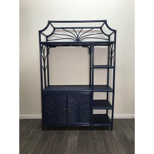 Navy Lacquer Finish Woven Rattan Etagere For Sale In West Palm - Image 6 of 6