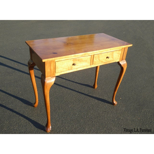 1970s Queen Anne Birch Wood Cedar Lined Two Drawer Writing Desk With Leaf Inlay For Sale - Image 13 of 13