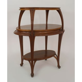 French Art Nouveau Walnut Oval Shaped 3 Tier Etagere Table