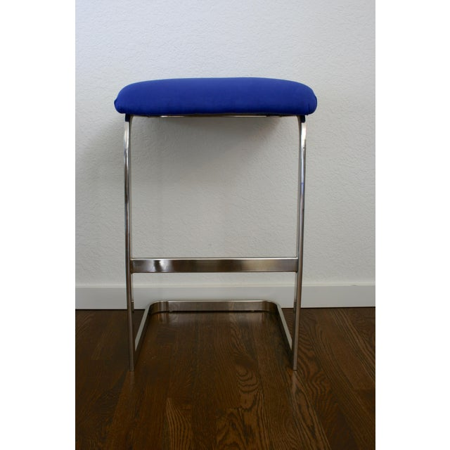 Contemporary Blue Faux Suede and Silver Cantilever Barstools - A Pair For Sale - Image 3 of 7