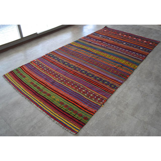 Traditional Masterpiece Turkish Kilim Rug Hand Woven Braided Oushak Jajim Area Rug - 63″ X 125″ For Sale - Image 3 of 10