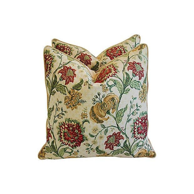 "Custom Scalamandre Floral Brocade Feather/Down Pillows 24"" Square - Pair For Sale In Los Angeles - Image 6 of 14"