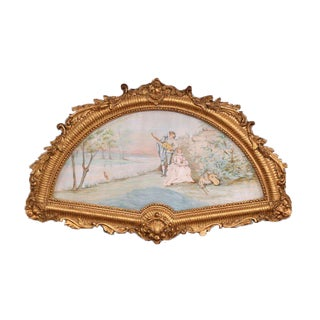 19th Century French Watercolor Courting Scene in Carved Gilt Frame Signed Canoby For Sale