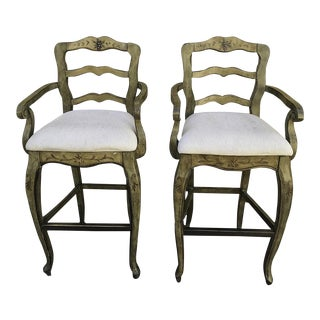 Hand Painted French Upholstered Cushioned Seats Bar Stools - A Pair For Sale
