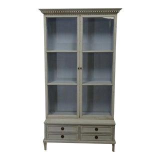 Swedish Gustavian Style Glass Top Hutch