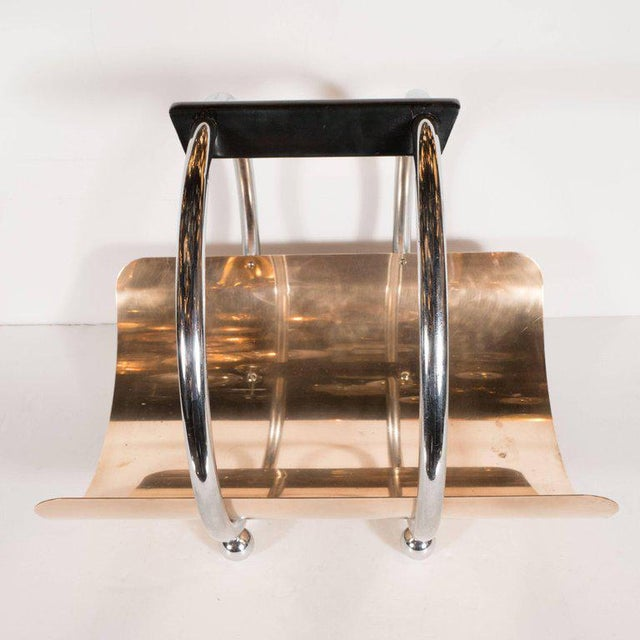 Chrome American Art Deco Machine Age Log Holder in Chrome and Copper by Leslie Beaton For Sale - Image 7 of 11