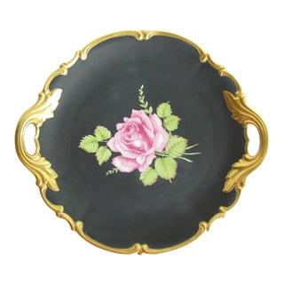Antique Nymphenburg Black Beauty Gilt Porcelain Platter or Cake Plate With Rose Motif For Sale