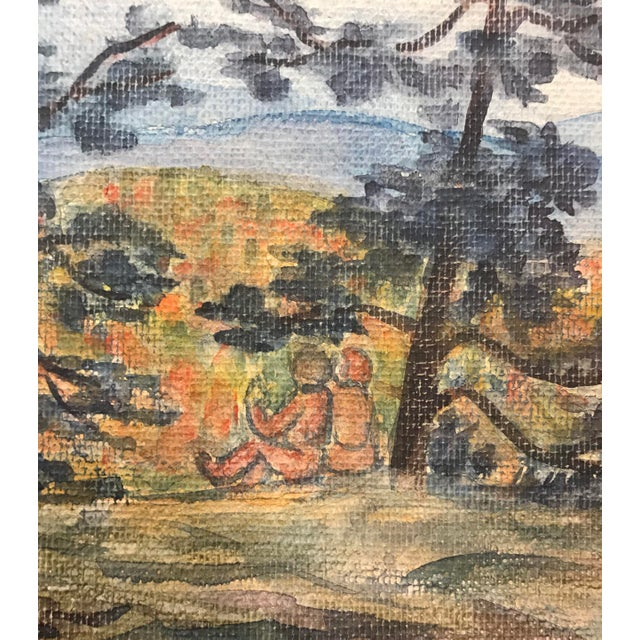 Made by Mercedes Erixon Hoshall (1904-1994). Watercolor on canvas affixed to paper. Unsigned. Hoshall worked in Colorado,...