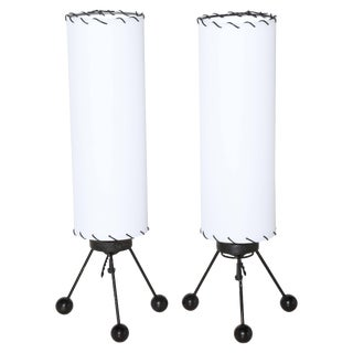 SmallVerplex Co. Black Tripod Table Lamps With White Linen Shades, 1950 - a Pair For Sale