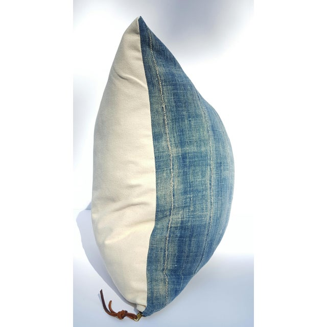 Faded Denim African Mud Cloth Pillow Cover - Image 3 of 6