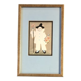 """Vintage After Picasso """"Paulo as Pierrot With Flowers"""" Silk Tapestry Picture Framed Mid Century For Sale"""