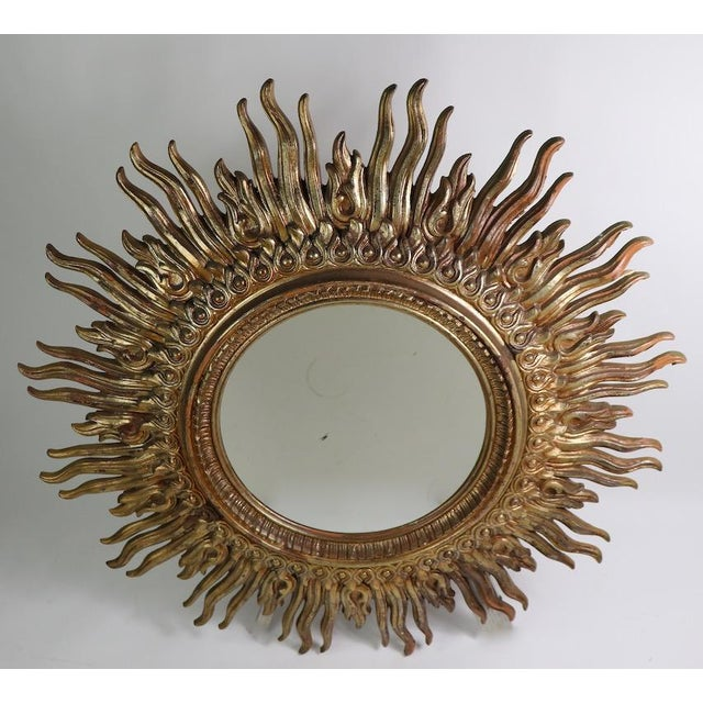 Hollywood Regency Large Decorative Sunburst Starburst Mirror With Cast Plastic Frame For Sale - Image 3 of 11