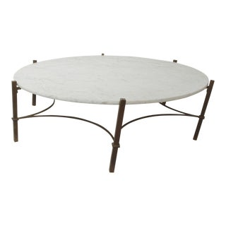 Marble Coffee Table in Bronze Hexagon Swirl Base by Arturo Pani Mexico For Sale