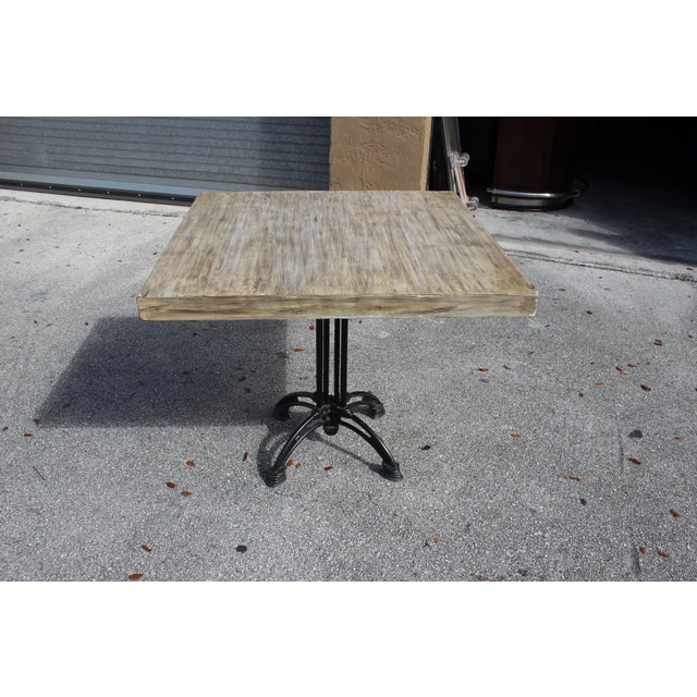 1920s French Country Cast Iron Base Walnut Top Dining / Bistro Table For Sale - Image 12 of 13