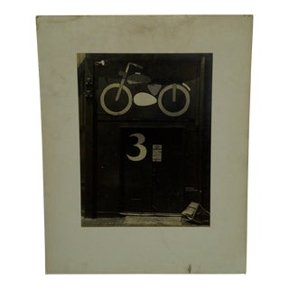 "Circa 1950 Vintage ""Motorcycle Door"" Black & White Photograph"